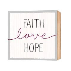 Holz-Deko 'Faith-Love-Hope'