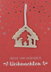 Grußkarte Rot 'Frohe und gesegnete Weihnachten'