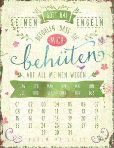 Magnetkalender 'Gott hat seinen Engeln'