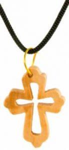 Anhänger Olivenholz-Kreuz mit Innenteil