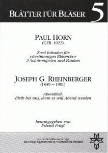 Cover Blätter für Bläser 5 Paul Horn