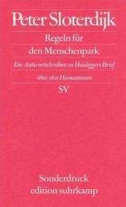Regeln für den Menschenpark Sloterdijk, Peter 9783518065822