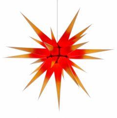 Herrnhuter Stern i8 - gelb mit rotem Kern ca. 80 cm