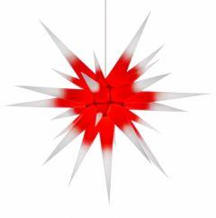 Herrnhuter Stern i8 - weiss mit rotem Kern ca. 80 cm